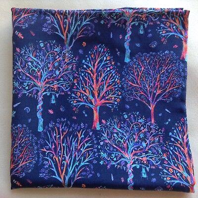 "The Artist""s Tree Navy Liberty of London silk pocket square"