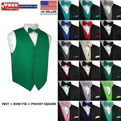 Men's Solid Satin Tuxedo Vest, Bow-Tie and Hankie. Formal, Dress, Wedding, Prom - Vest Bow Tie