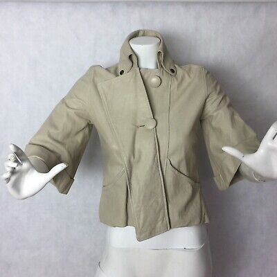 Mike & Chris Leather Blazer Jacket Ivory Bomb Crop Women Made in USA