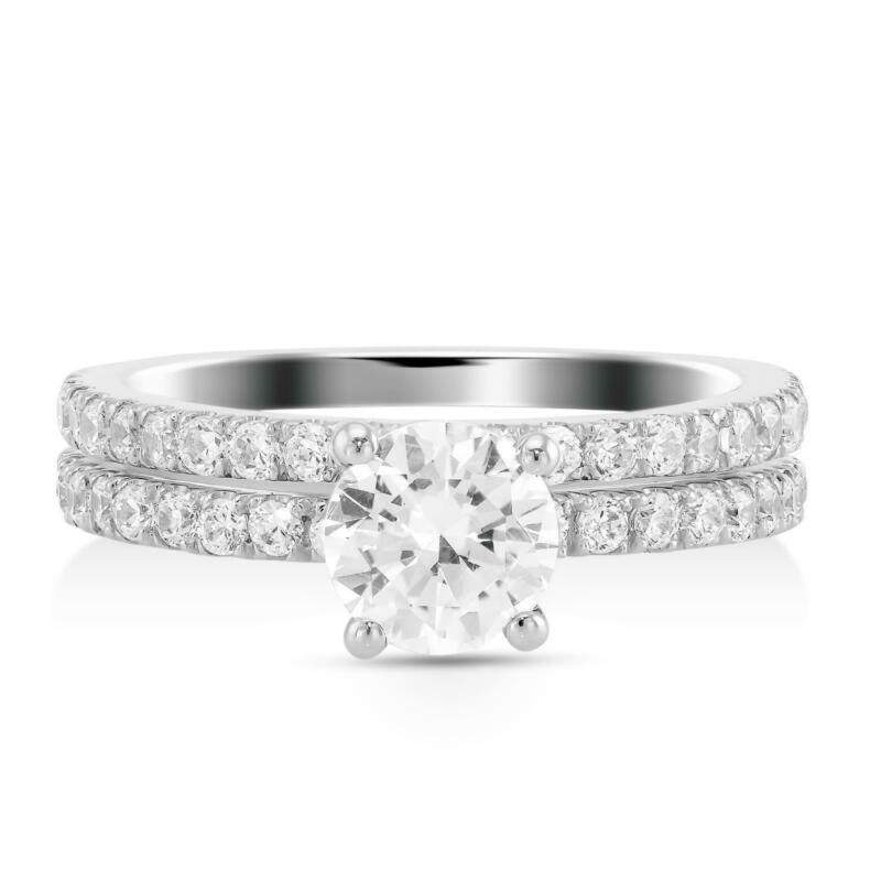 1.5 Ct G Si2 Round Solitaire Diamond Engagement Ring Set With Matching Band