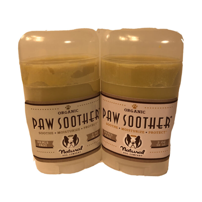 (2) Natural Dog Company Paw Soother Organic Moisturize Protect Dog Paw Pads 2 oz