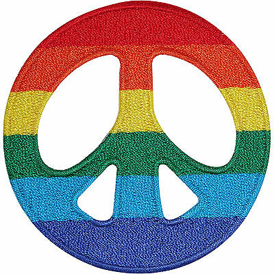 Rainbow Peace Sign Embroidered Iron / Sew On Patch T Shirt Gay Pride Flag Badge