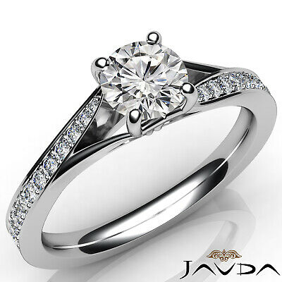 Cathedral Split Shank Round Diamond Engagement Pave Set Ring GIA D VS1 0.85 Ct 5