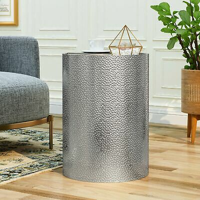 Rache Modern Round Accent Table with Hammered Iron