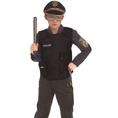 Child Police Vest Costume Black SWAT Accessory Cop Officer Gear Kids Boys - Kids Police Gear