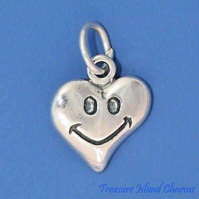 Glückliches Gesicht Lächeln Emoji Herz .925 Sterlingsilber Anhänger Made in USA