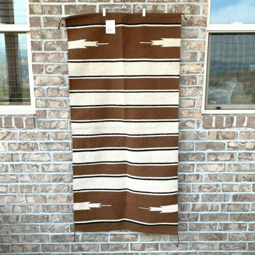 "Mustang single weave cotton saddle rug blanket brown/ivory/black size 30"" x 60"""