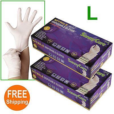 200 2boxes White Nitrile Disposable Gloves Powder Free Non Vinyl Latex --l
