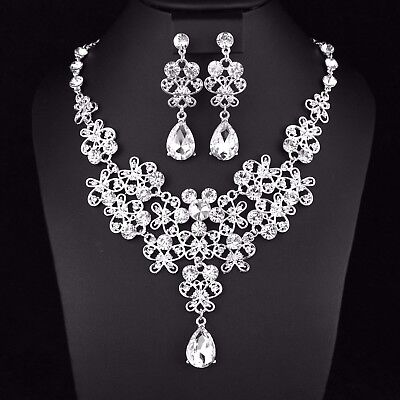 Butterfly Clear Austrian Rhinestone Crystal Necklace Earrings Set Prom Party N22 Austrian Crystal Butterfly Necklace