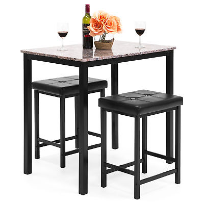 BCP Marble Table Dining Set w/ 2 Stools - Marble Dining Table Set