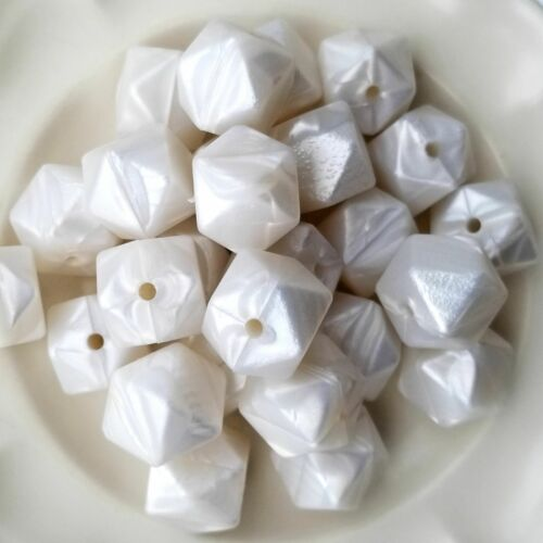 Metallic Pearl Silicone Hexagon Beads