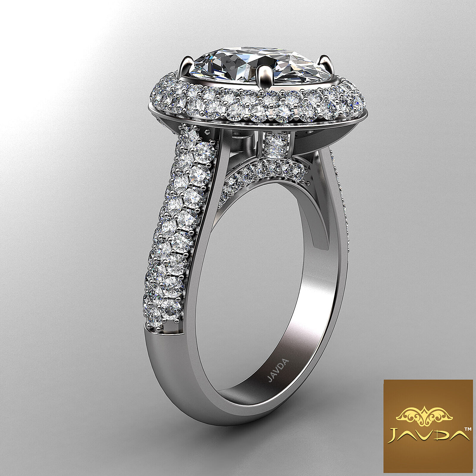 3 Row Shank Double Halo Oval Diamond Engagement Prong Setting Ring GIA F VS1 3Ct 2