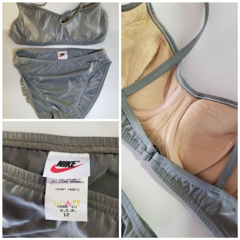 NIKE White Tag! Swoosh Rare! Late 80s Made in USA! High Cut Legs Bikini Sz12 NOS