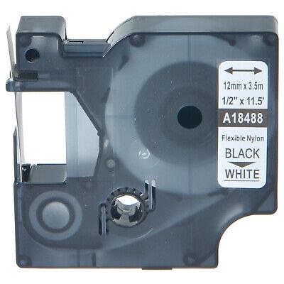 Black On White 12mm Flexible Nylon Label Tape For Dymo 18488 Rhino 450 Duo 5200