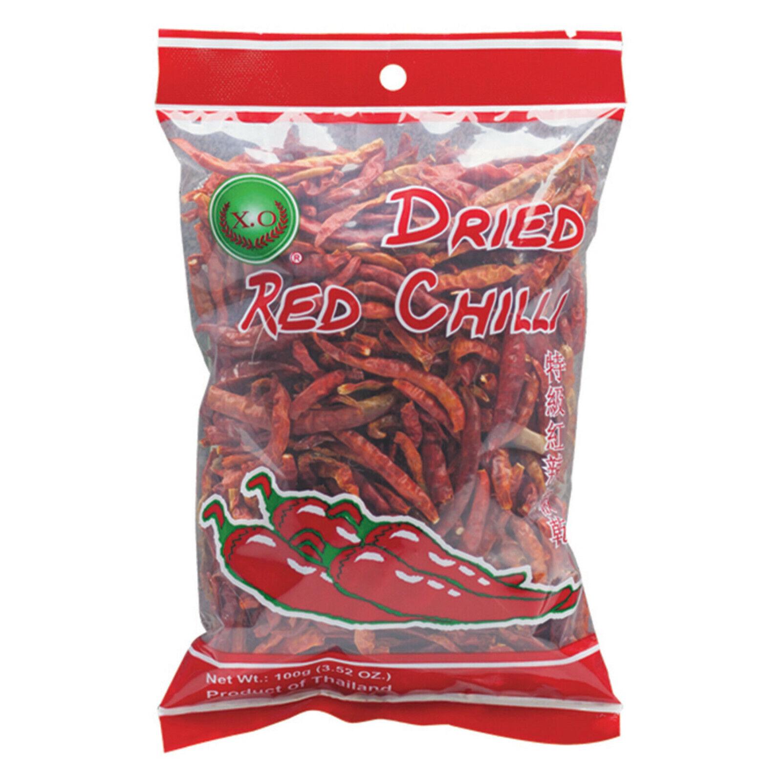100g getrocknete rote Chili Schoten X.O. Brand Dried Red Chilli ohne Zusatstoffe