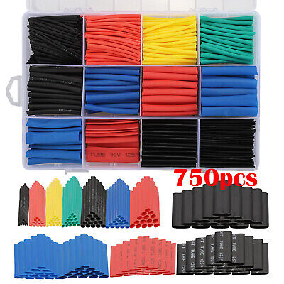 750x Assortment 21 Heat Shrink Wire Wrap Tubing Electrical Connection Cable Set