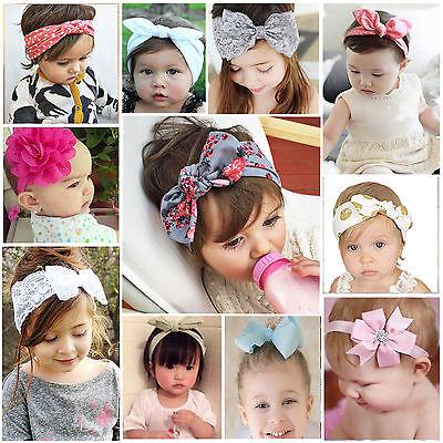 (Baby Girl Kid Rabbit Headband Bowknot Turban Hairband Elastic Hair Band Headwear)