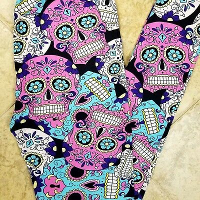 NWT Womens Sugar Skull Leggings Day Of The Dead Halloween Print Size OS  - Halloween Leggings Womens