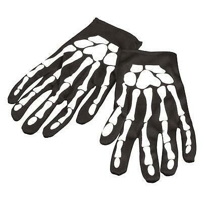 Erwachsene Kleid Halloween Kostüm Schädelknochen Schwarz Skelett Handschuhe - Erwachsenen Skelett Handschuhe