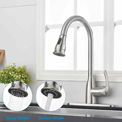 Rozin Commercial Kitchen Faucet Single Handle Stainless Steel Pull Down Sprayer