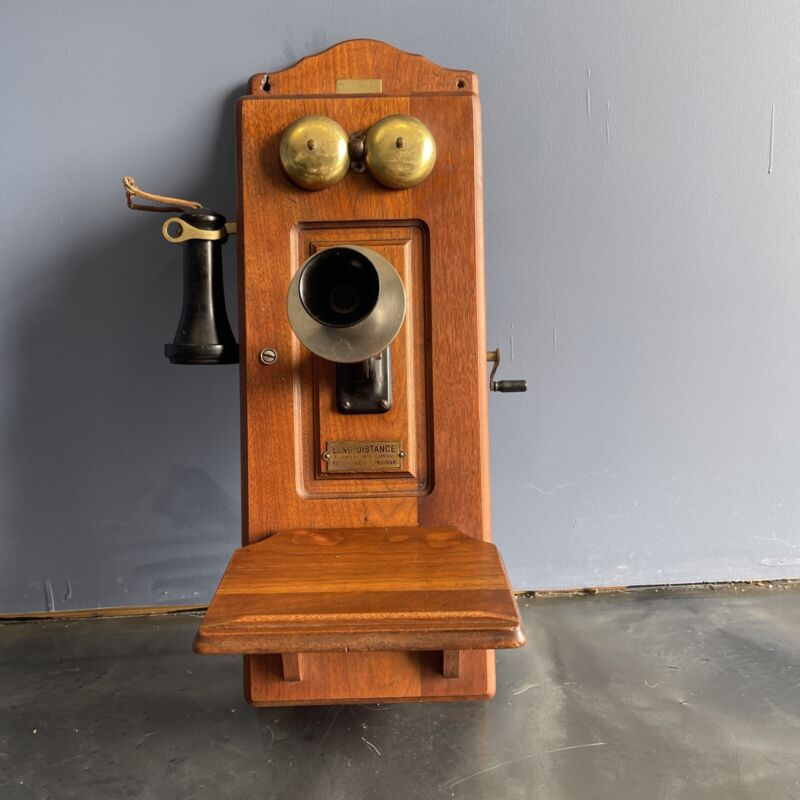 Large Antique Wall Mount Long Distance telephone MFG company