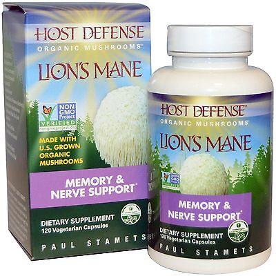 Fungi Perfecti, Host Defense, Lion's Mane, Memory & Nerve Support 120 Veg Caps