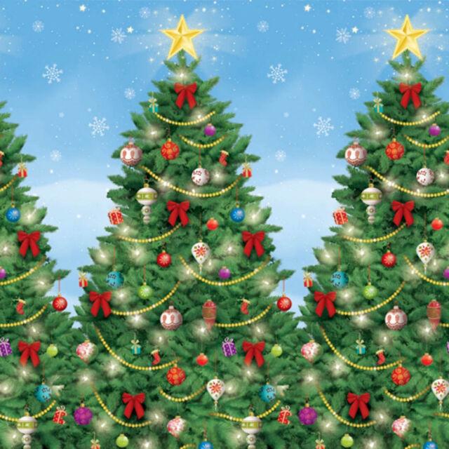 Merry Christmas Party Scene Setter Room Roll Decoration - Festive Trees