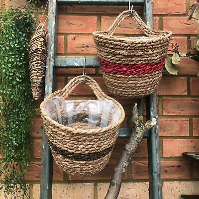 Round Wicker Wall Storage Hanging Plant Basket Vintage Style Rustic Veg - Wicker Storage Baskets