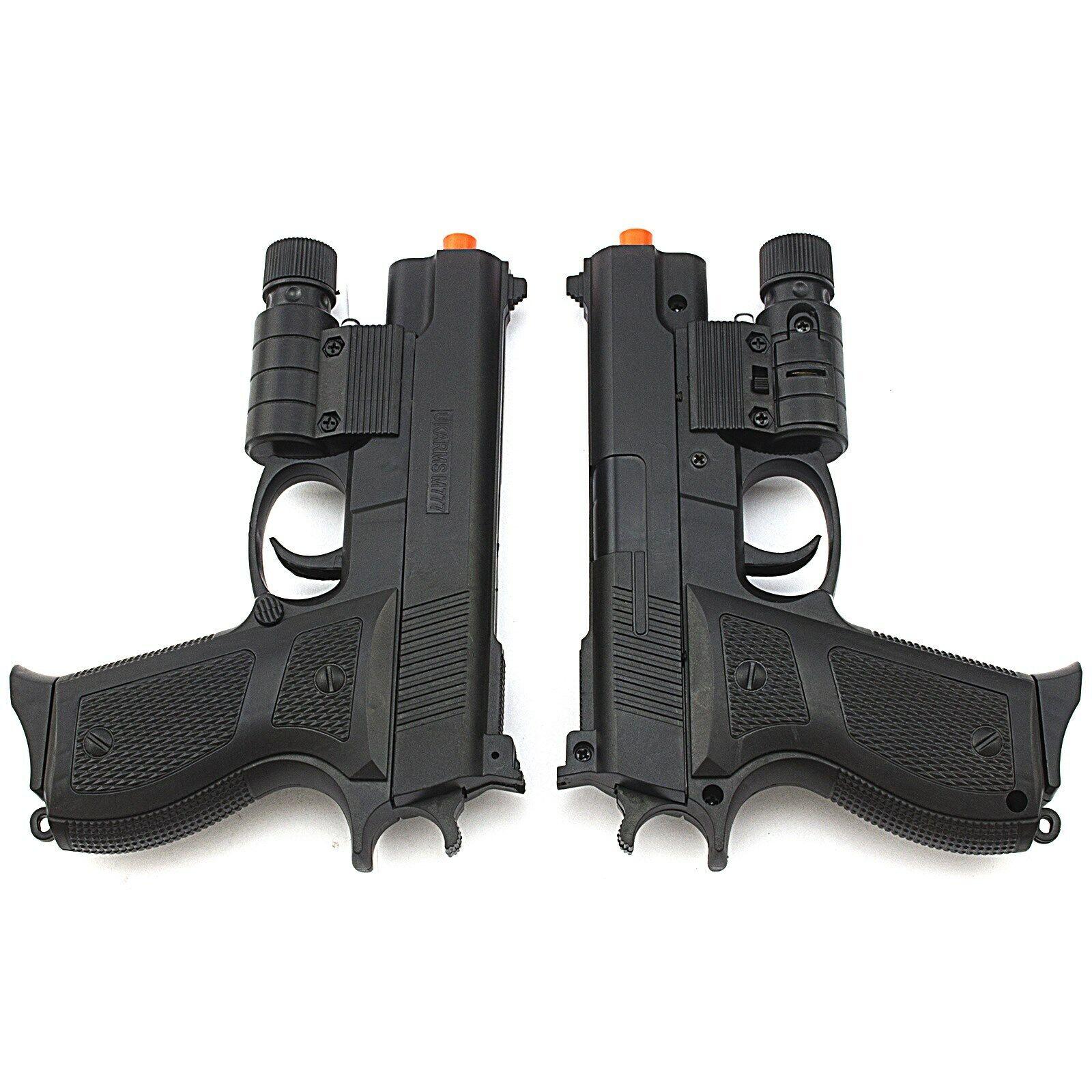 2 PC AIRSOFT TACTICAL SPRING PISTOL HAND GUN LASER SIGHT FLASHLIGHT 6mm BBs BB - $0.01