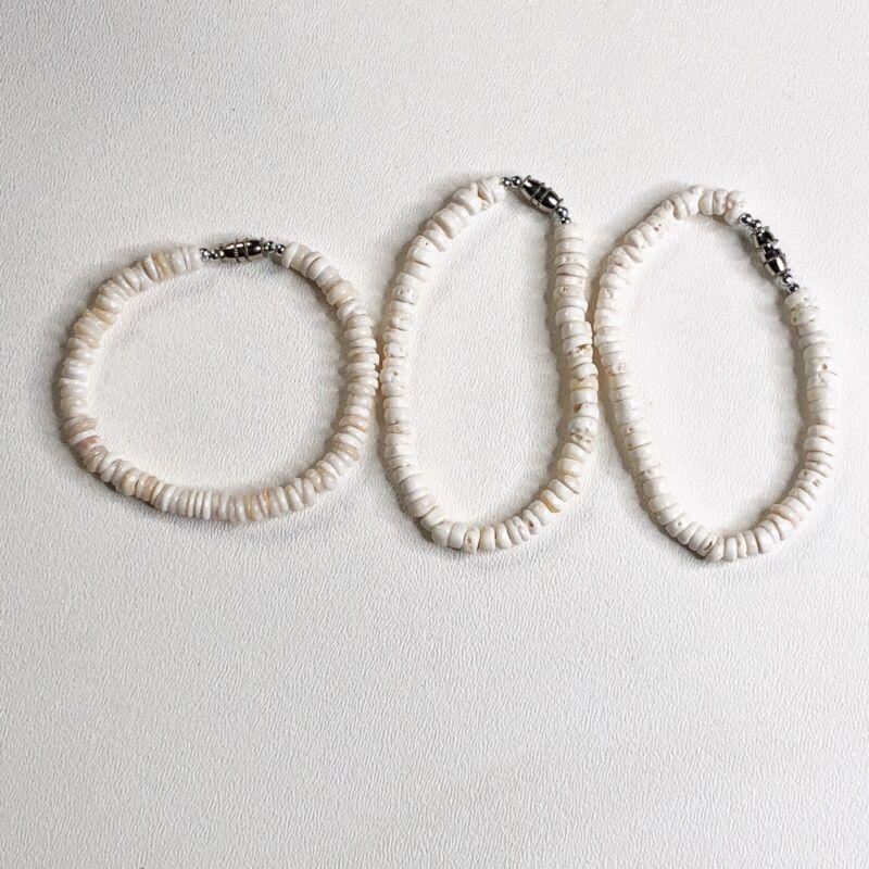 Genuine Puka Shell Lot Of 3 Bracelet Hawaii