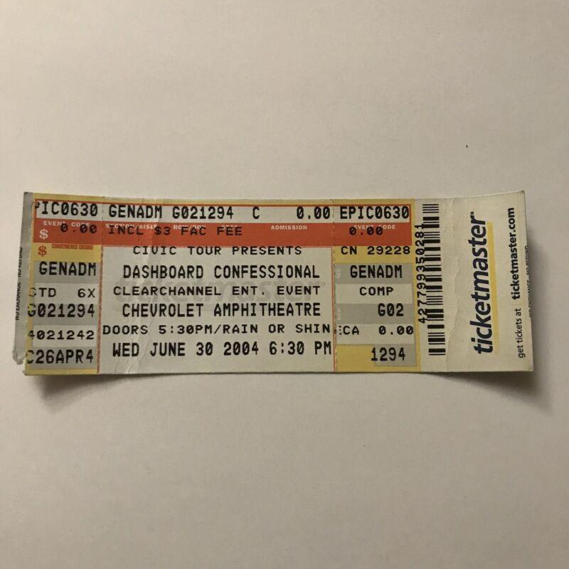 Dashboard Confessional Chevrolet Amphitheatre Concert Ticket Stub Vintage 2004