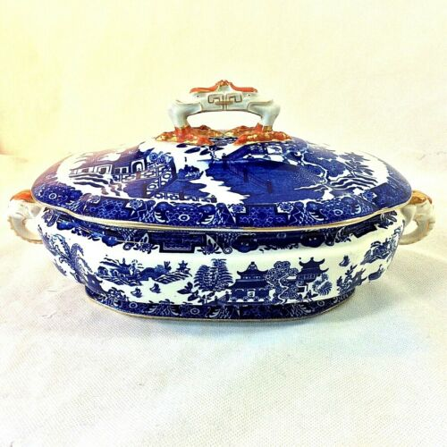 ROYAL WORCESTER ANTIQUE BLUE WILLOW TUREEN ELEPHANT HANDLES LID CLAW FOOT BIRDS