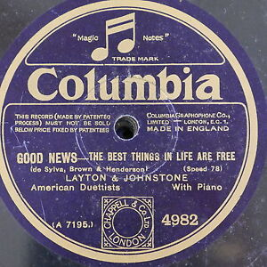78rpm LAYTON & JOHNSTONE the best things in life are free / the varsity drag