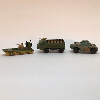 Vintage Lot of Lesney Matchbox Military Vehicles And Swamp Rat Boat 1970's