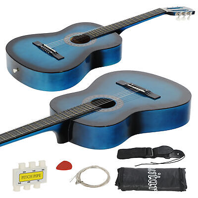 38 Inch Beginners Acoustic Guitar With Free Case, Strap, Tuner and Pick, in Blue