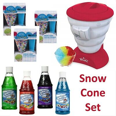 Rival SNOW CONE MAKER Red + SUPPLIES - Cups, Straws, Hawaiian Punch Syrups