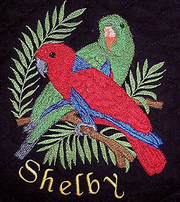 Custom made, Denim, Embroidered parrot bird cage cover Male and Female Eclectus