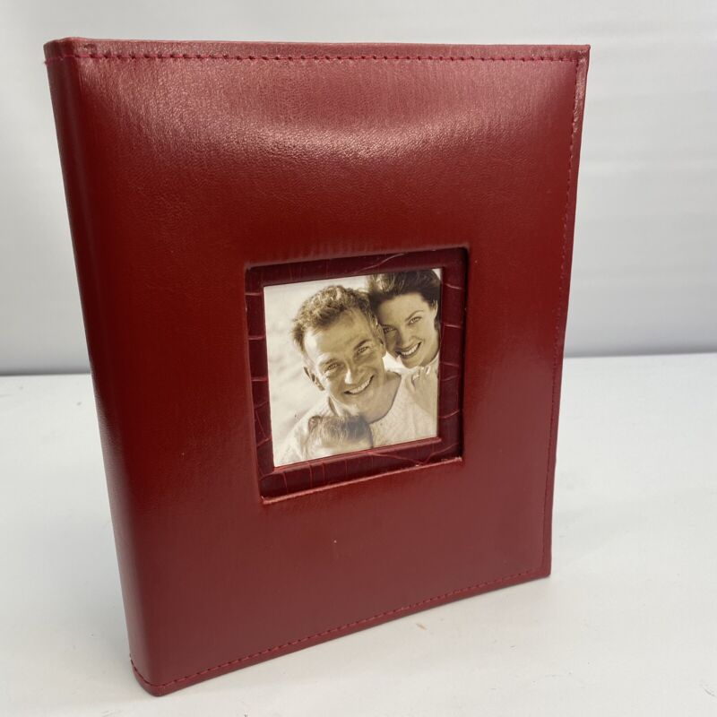 Photo Album With Frame Cover Takes Up To 204 Pictures 4X6 Red Leather Cover