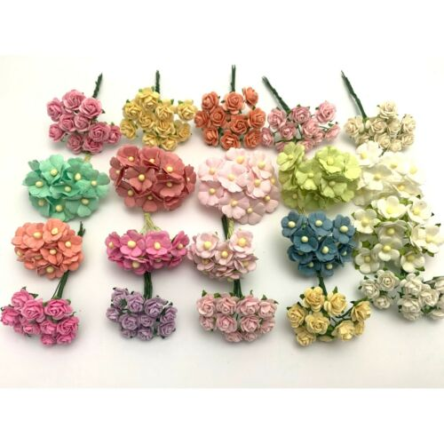 200 MIXED 4 Designs Mini - Small Cottage Rose Paper Flower Pastel (R&S-426A2)