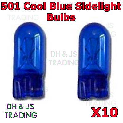 Car Parts - 10 x 501 Cool Blue Sidelight Bulbs 12v 5w Capless Car Auto Side Light Bulb