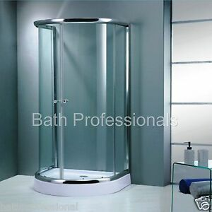 Corner D Shape Shower Enclosure Bathroom Tray Easy Plumb Door Cubicle Supreme KL