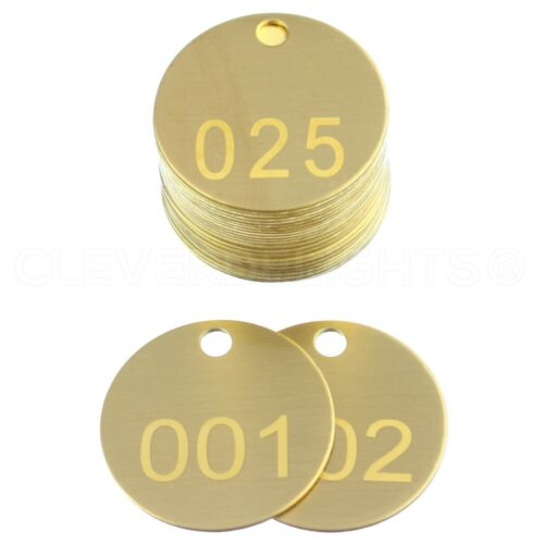 """1.5"""" Brass Tag Set - Numbered 1 to 25 - Round Circle Valve ID Tags 1 1/2 Inch"""