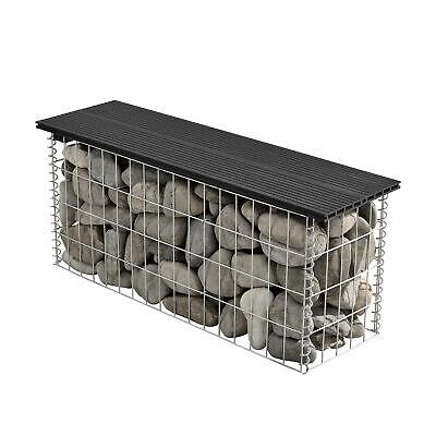 [pro.tec]® WPC Gabion Bench 100x45x30cm Garden Seat Wire Stone Box Black