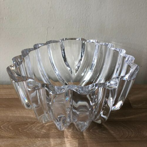 Lovely Orrefors Abstract Leaf Shaped Large Crystal Bowl