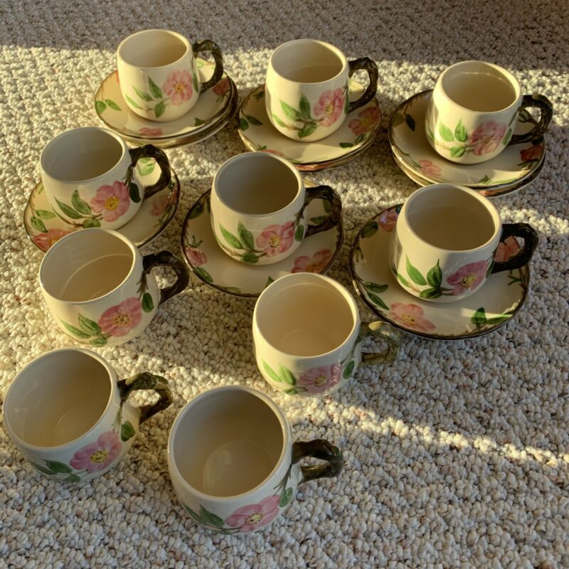 Fransiscan 10 Coffee/Tea Cups & Saucers