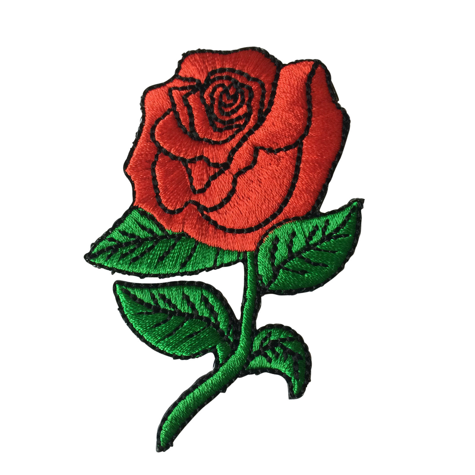 Embroidered red rose sew or iron on patch biker ebay