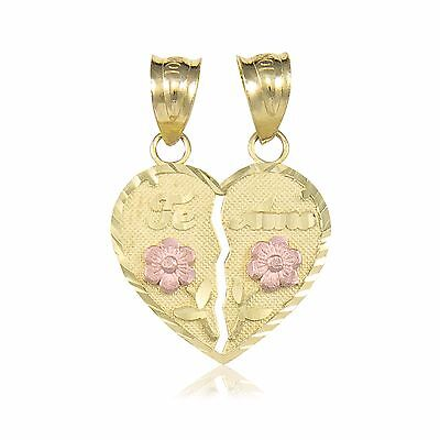 Gold Rose Heart Flower - 10K Solid Yellow Rose Gold Te Amo Half Heart Pendant -Love Flower Necklace Charm