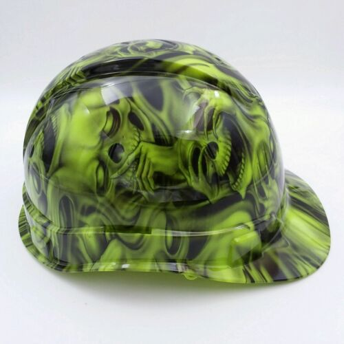 Hard Hat custom hydro dipped , OSHA approved see,hear no evil SKULLS, NEW !! 2