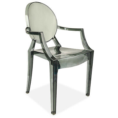 Grey Dining Chair Ghost Style Retro Lounge Dressing Kitchen Office Armchair