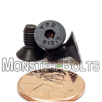 M5 x 10mm Flat Head Socket Cap Screws, 12.9 Alloy Steel Black Ox DIN 7991 Coarse